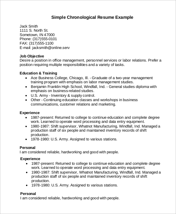 chronological resume example 2021