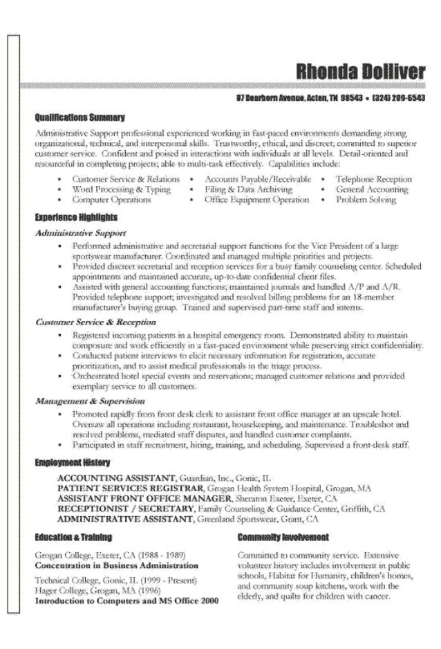 functional CV examples 2021