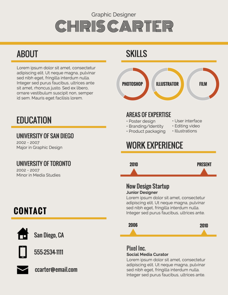 Infographic resume 2021 sample