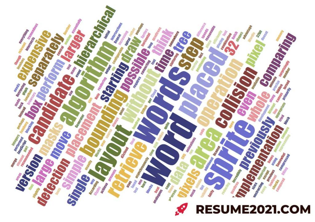 Tag cloud for tardeted CV 2021