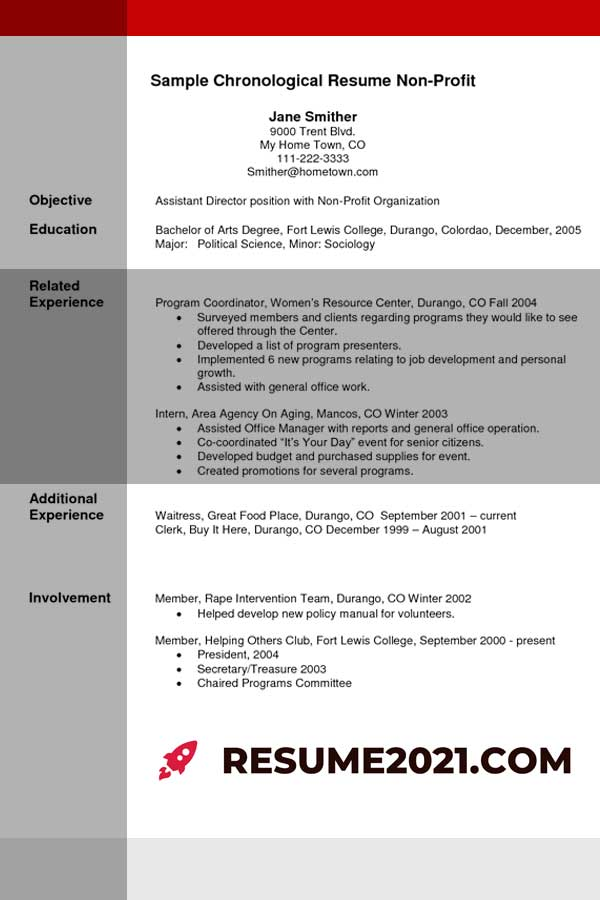 resume template 2021 - chronological sample