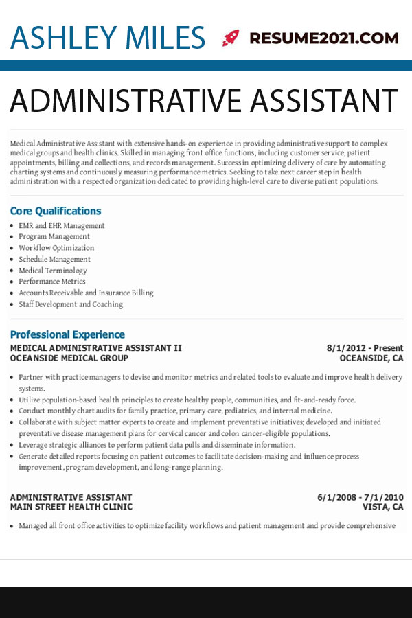 How To Write Administrative Assistant Resume 2021 Resume 2021