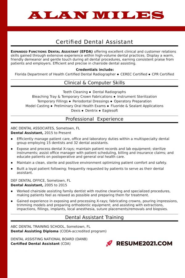 dental assistant resume 2021