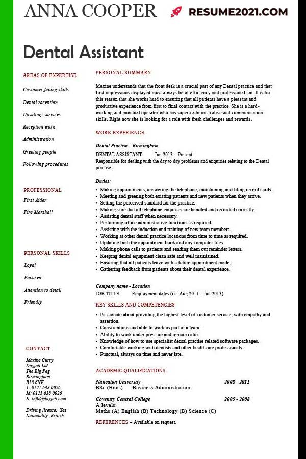 dental assistant CV 2021