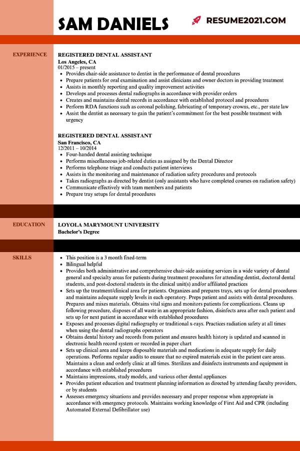 dental assistant resume template 2021