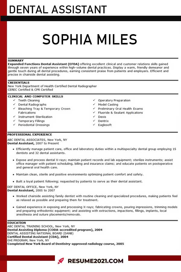 dental assistant resume sample 2021