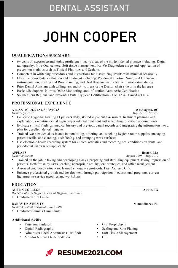dental assistant 2021 resume examples